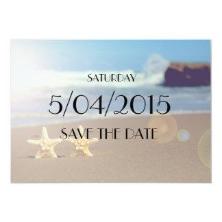 日付のヒトデの結婚式招待状を救って下さい カード