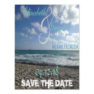 日付のビーチの磁石を救って下さい マグネットカード