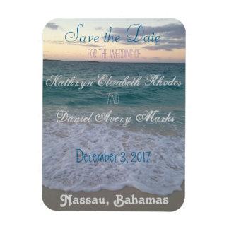 日付のビーチ結婚式を救って下さい 長方形磁石