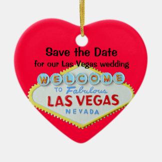 日付のベガスの結婚式を救って下さい セラミックオーナメント