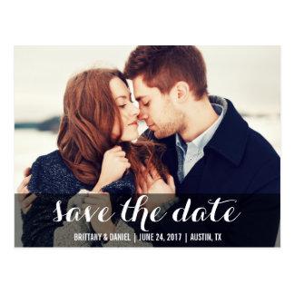 日付のモダンな婚約の郵便はがきWを救って下さい 葉書き