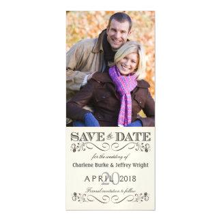 日付のヴィンテージの白い結婚式の写真の招待を救って下さい マグネットカード