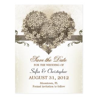日付のヴィンテージの花のハートの郵便はがきを救って下さい ポストカード