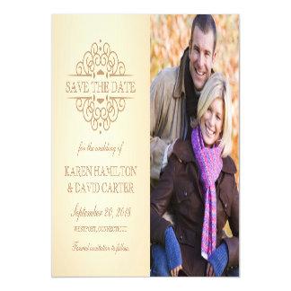 日付のヴィンテージスクロール婚約の写真を救って下さい マグネットカード