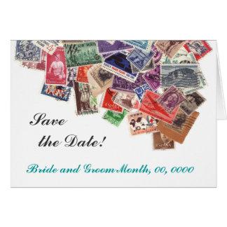 日付の切手を救って下さい グリーティングカード