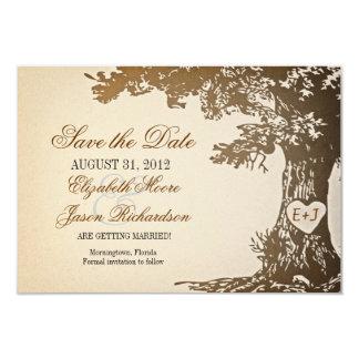 日付の古い木のヴィンテージ平らなカードを救って下さい カード