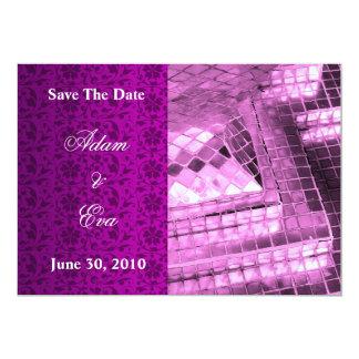 日付の招待状のすみれ色の宝石用原石のモザイクを救って下さい カード