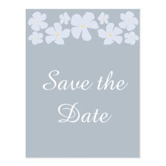 日付の灰色のジャスミンの結婚式の郵便はがきを救って下さい ポストカード