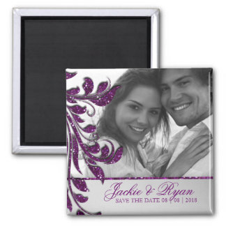 日付の磁石の写真の紫色の輝きを救って下さい マグネット