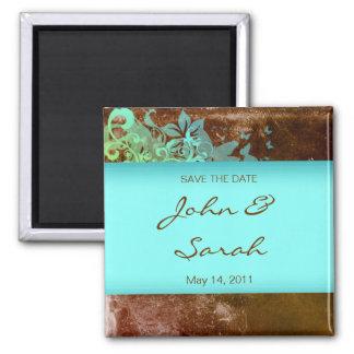 日付の磁石の花のグランジな茶色がかった鋼色を救って下さい マグネット