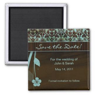 日付の磁石の花のダマスク織の茶色がかった鋼色を救って下さい マグネット