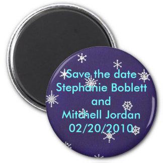 日付の磁石、濃紺の雪片を救って下さい マグネット