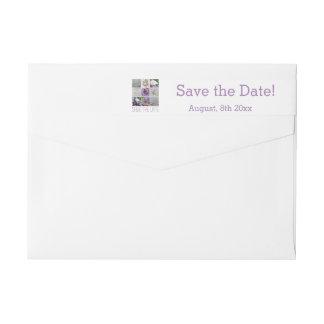 日付の紫色の結婚式のコラージュを救って下さい ラップアラウンドラベル