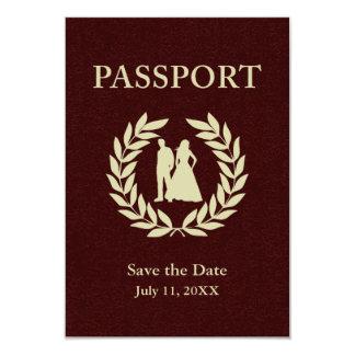 日付の結婚式のパスポートを救って下さい 8.9 X 12.7 インビテーションカード