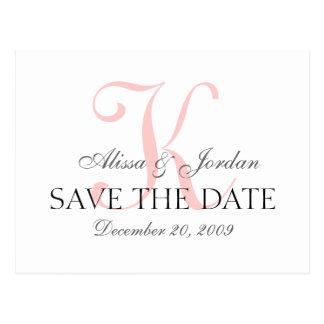 日付の結婚式のモノグラムの発表カードを救って下さい ポストカード