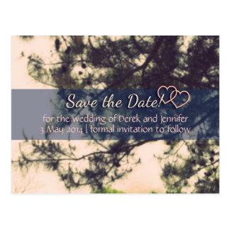 日付の結婚式を-ヴィンテージの木および枝救って下さい ポストカード