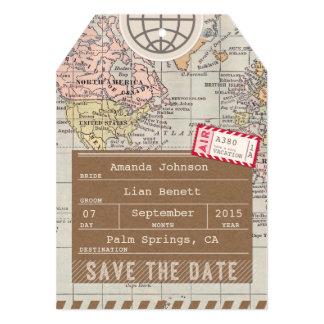 日付の航空郵便の荷物のラベルの世界地図を救って下さい カード