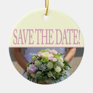 日付の花嫁及び花束を救って下さい セラミックオーナメント