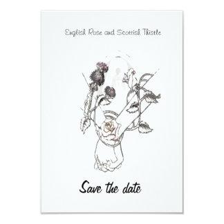 日付の英国のばら色およびスコットランドのアザミを救って下さい カード