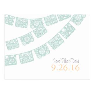 日付のPapel Picadoの郵便はがきを救って下さい ポストカード