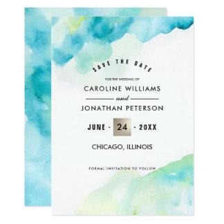 日付を救って下さい。 水彩画の結婚式の発表 カード
