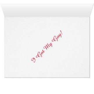 """日付を救って下さい: """"私は私の人""""を得ました(結婚式のメッセージカード) カード"""