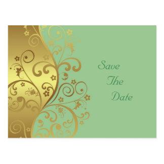 日付を救って下さい--金ゴールドの渦巻及びSeafoam ポストカード
