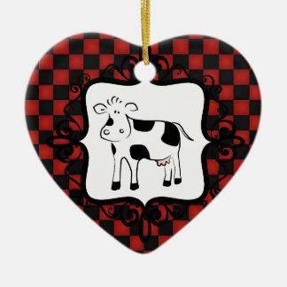 日付を記入されるかわいいチェッカーボード牛お洒落な動物 セラミックオーナメント