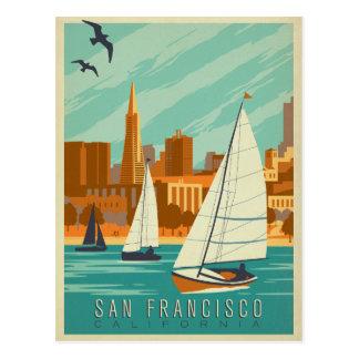日付|サンフランシスコ、カリフォルニア-ヨット--を救って下さい ポストカード