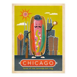 日付 シカゴ、IL -ホットドッグ--を救って下さい ポストカード