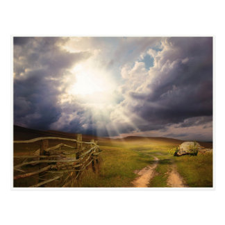 日光および草原および古い木製の塀の郵便はがき ポストカード