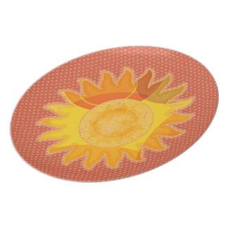 日光のオレンジ水玉模様のプレート プレート