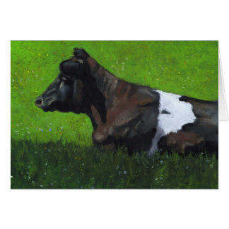 日光のホルスタイン牛のパステル調の絵画 カード