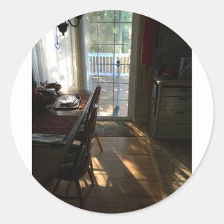 日光の郵便はがきが付いている朝食 ラウンドシール