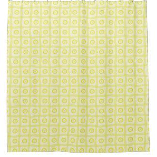 日光の黄色いシャワー・カーテン-円及びリボン シャワーカーテン