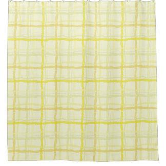 日光の黄色いシャワー・カーテン-格子縞 シャワーカーテン