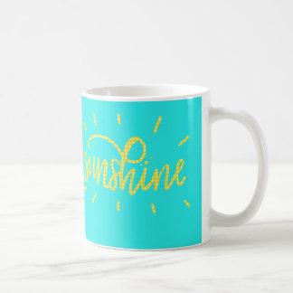 日光! 黄色およびミントまたはティール(緑がかった色)のコーヒー・マグ コーヒーマグカップ