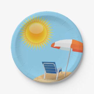 日曜日およびビーチパラソル ペーパープレート