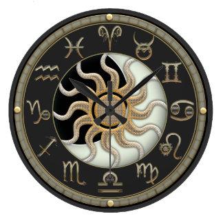 日曜日および月の占星術の記号 ラージ壁時計
