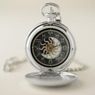 日曜日および月の占星術の(占星術の)十二宮図の記号の壊中時計 ポケットウォッチ