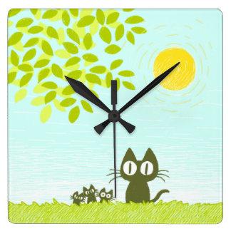 日曜日および葉および黒猫 スクエア壁時計