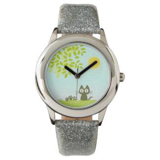 日曜日および葉および黒猫 腕時計