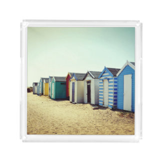 日曜日のカラフルなビーチ小屋 アクリルトレー