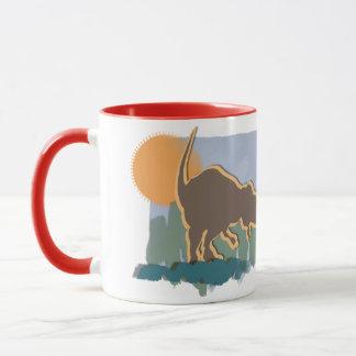 日曜日のブラウンのアロサウルスおよびオレンジおよび草 マグカップ