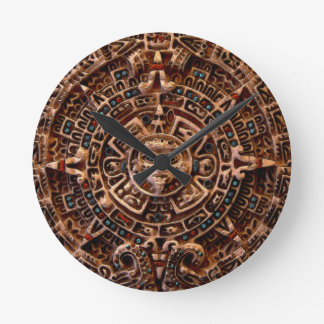 日曜日のマヤのカレンダーのアステカなメキシコ歴史の時計 ラウンド壁時計