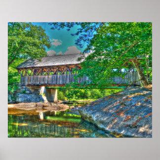 日曜日の川の屋根付橋、ベセル、メイン ポスター