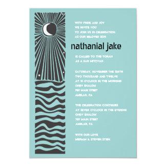日曜日の月のウォーター・バーのバルミツワーの招待状 カード