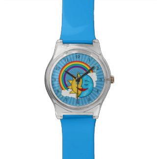 日曜日の月のRainboowの天のテーマ 腕時計