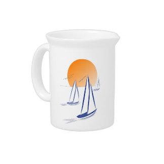 日曜日の海「N」の帆! 沿岸ヨット ピッチャー