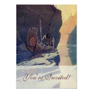 日曜日の記号と漕ぐヴィンテージのインドのカヌー カード